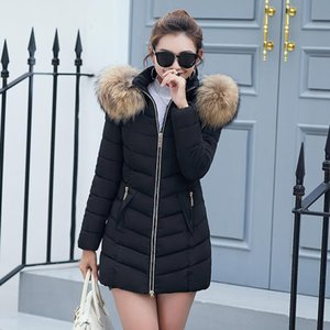 2018 Casual Women Winter Down Jacket Slim Long Algodón acolchado Faux Fur Collar Abrigo con capucha Parka Lady Plus Size Jacket Prendas de abrigo