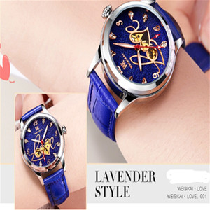 Designer candy color leather fashion machinery ladies stainless steel hollow automatic movement watch sports ladies automatic winding watch
