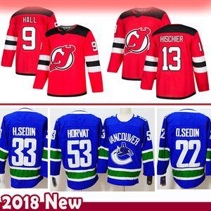 mens 9 Taylor Hall 13 Nico Hischier New Jersey Devils hokey Jersey 33 Henrik Sedin 22 Daniel Sedin 53 Bo Horvat Vancouver Canucks Maglie