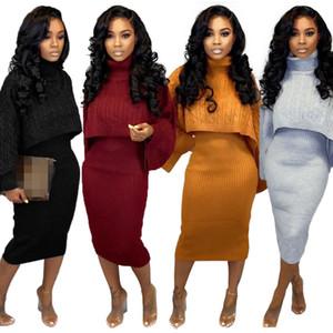 Herbst neuer Verkauf Winter-Strickjacke-Kleid Zwei-teiliges Set Women Fashion Rollkragen mit langen Ärmeln Pullover Strickpullover + Bodycon Kleider