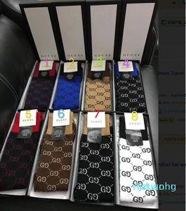 2020 mais novo G Gc F Box Logo Letter Printing Moda longo tubo do joelho Meias Meias de malha de algodão Socks 5color 1pairs na caixa de presente Um SJ1