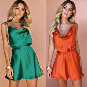 Новые летние женские платья сексуальное очаровательное атласное шелковое мини-платье без рукавов спинки сплошное свободное платье пляжная одежда пижамы