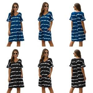 Hirigin New Fashion Women Casual Patchwork Dress Female Striped Dresses Ladies V-Neck Short Sleeve Dresses With Belt Plus Size#201