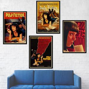 Clásica película Pulp Fiction retro de papel Kraft de Poster Bar Cafe de pintura decorativa del papel pintado de la vendimia carteles