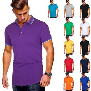 Shirt d'été Casual solide Couleur Slim manches courtes Polo Hommes Polo rayé Brochage