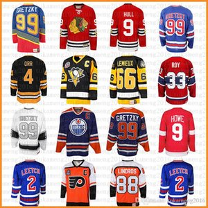 mens 99 Wayne Gretzky 66 Mario Lemieux 9 Bobby Hull Hockey Jersey 9 Gordie Howe 4 Bobby Orr 33 Patrick Roy 88 Eric Lindros Leetch Messier