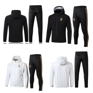 19 20 Real Madrid HAZARD Training suit Full zip Hat Jacket Windbreaker Suit Kit Mens Soccer Jerseys Tracksuits Cotton Top Football Shirts