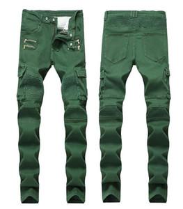 Ridée Slim Mid taille Hommes Jeans Army Green poches Hommes Jeans droites avec fermeture éclair Mode Homme Vêtements