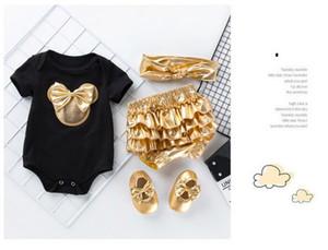 La ropa nueva chica del bebé del diseñador Ha Yi pantalones de oro pp del bebé del juego de los niños del mono de la ropa de cuatro piezas de piezas múltiples