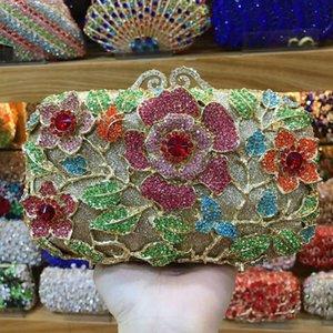 XIYUAN women Floral Glitter shoulder bag crystal diamond Party Clutch purse Evening Bag Chain Handbag Wedding Dress Bag blue Y200520
