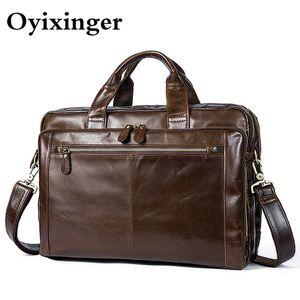 "OYIXINGER Männer Aktentaschen Herrentaschen Messenger Male echtes Leder-Laptop-Taschen für Macbook Office Bag 14"" Computer Dokumententasche"