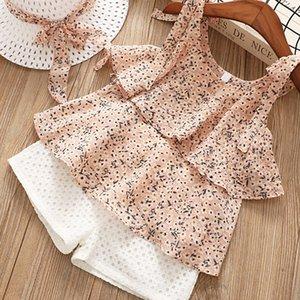 Sin mangas floral de la honda del bebé ropa femenina de la gasa de las muchachas fijan verano de la nueva Boutique Infantil camisa + cortocircuitos de dos piezas + Hat
