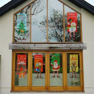 Weihnachtsstoffe Hänge Flaggen Schaufenster Anhänger Zuhause-Party-Raum-Wand-Ornament Außen Xmas Weihnachtsmann Dekoration Tür Flags JK1910