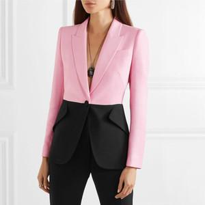Patchwork Women Blazer Notched Collar Long Sleeve Elegant Coats Tops Female 2020 Autumn Winter Fashion Plus Size w845