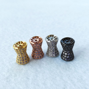 CZ zircon Big Hole Hollow circular column Tube Beads connector for DIY Bracelet Necklace Charms Jewelry Accessories CT509