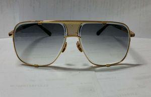 Hombres Gafas de sol Cuadrado Piloto Hombre Caja Gris Gradiente Lente 2087 Glases de oro con gafas de sol Gafas Gafas Negro Nuevo Vintage DPITC