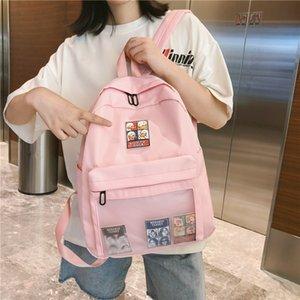 DCIMOR Высокое качество водонепроницаемый нейлон Женщины рюкзак Женский прозрачный передний карман для портфель девочек-подростков, путешествия рюкзак LY191203