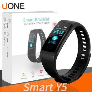 Tela Y5 inteligente Pulseira Pulseira de Fitness Rastreador Cor Heart Rate sono pedômetro impermeável Sport Activity Tracker para smartphones Samsung