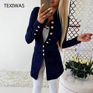 TEXIWAS Anzugjacke Weibliche Blazer Frauen Einreiher Strickjacke Frauen Blazer Dünne Mäntel Tops Büro Lady Elegant Work Blazer