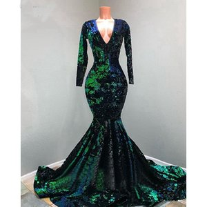 Emerald Green Velvet Sequins Prom Dresses 2020 V-neck Muslim Long Sleeve Sparkly Mermaid Sweep Train Occasion Evening Gown Plus size