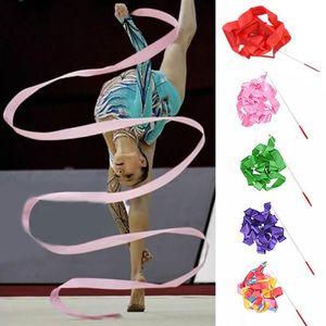4m fita colorida Dance Gym rítmica Art Gymnastic Streamer Twirling Rod Stick Gymnastic Training Ribbon