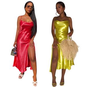 Donne Midi Abiti da sera Prom Summer Side Split Spaghetti Strap Slash Neck Backless Night Club Abiti da cocktail Rosso dorato