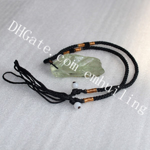 10 pezzi di cristallo verde chiaro naturale quarzo originale gemma di pietra gioielli ciondolo collana grezzo irregolare verde Druzy Rock collana regolabile corda