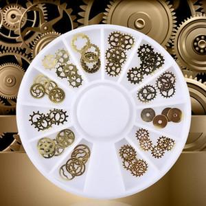 Золото металл Часы передач Компьютер Кусок Nail Patch можно сложить инструменты для ногтей Elegant Great Популярного ногтя ювелирных изделий
