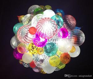Jolie bulbeuses forme ronde main colorée Blown Lustre Lampe moderne Art Glass Pendant Holiday décembre LR1299