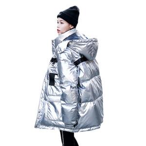 Invierno de plata brillante de la chaqueta abajo para las mujeres 2019 Nueva caliente abajo Parkas algodón de la capa Mujer largo grueso acolchado Escudo Sra suelta Abrigo