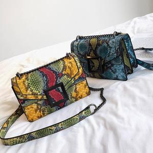 Women's Bag Snake Print Shoulder Bag Vintage Crossbody Women's Shoulder Leather Messenger Bag 5 Colors Free Shipping