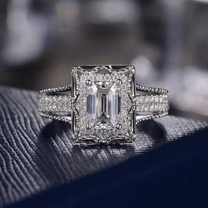 Huitan classique de fiançailles de mariage Bague brillant Dazzling Cristal carrée Pierre Cadre d'argent plaqué doigt Anneaux Tous En stock