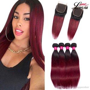 Malaysian ombre human hair bundles with closure 1b 99j closure with straight hair bundles Malaysian human hair extension