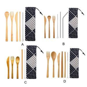 اليابانية أدوات المائدة الخشبية الخيزران القش والسكاكين مجموعة مع حقيبة القماش أدوات المطبخ الطبخ C19042101