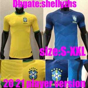 player versão Copa América 2020 o Brasil camisa de futebol NEYMAR JR camisa de futebol t P.COUTINHO uniforme camisa Brasil lar longe 2,020 Feminina