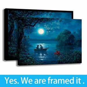 Moonlight Ocean Little Mermaid Kiss The Girl Landscape Print Background Wall Decor Art Canvas Picture Poster Living Room Decor