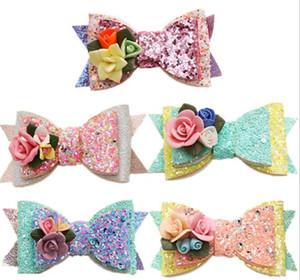 5 couleurs fille Accessoires pour cheveux Princesse paillettes Stereo fleurs barrettes mignons enfants fille mode arc barrettes bateau libre