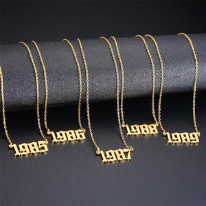 10pcs lot Wholesale Stainless Steel Birth Year Necklace Women Gold Year Pendant Necklace 1980 to 2000