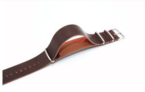 002 NATO Zulu pull sand steel buckle section NATO leather strap retro crazy horse color soft leather belt