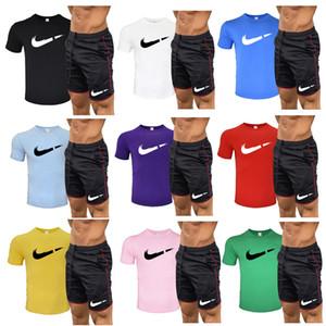 2020 T-Shirt + kurze Hose Lässige Kleidung Männer Pullover Cotton Männer Frauen Tracksuits Hoodie Zwei Stücke Sommer Schwimmtrainingsanzug
