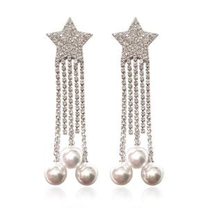 Trendy Pearl Star Tassel Earrings For Girl Cubic Zirconia 925 Silver Needle Wedding Dangle Earring Gold Plated Diamond Brand Jewelry
