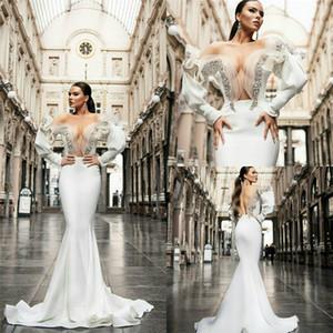 2020 Mermaid Wedding Dresses Sweetheart Long Sleeves Sequins Sweep Train Bridal Gown SExy Backless Custom Made Hot Sale Robes De Mariée