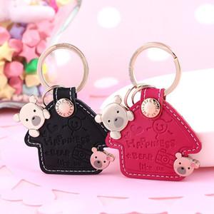 Deri Anahtarlık Ring Kadınlar Anahtar kolye Güzel Bear Ev Şekli Trinket Moda Araba Anahtarlık Charm Hediye İçin Kız K0056