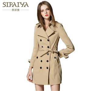 SIPAIYA 2017 britischen Art-Graben-Bur Marken-eleganter weiblichen langen Mantel-Herbst-Winter-Graben-Mantel für Frauen Y190919