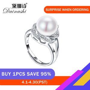 Desconto Big jóias de prata esterlina 925 em venda anéis naturais de pérolas grandes de anel mulheres pedra ajustável branco / rosa / pérola roxa