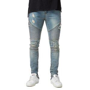 Herren Drapierte Designer Zerrissene Jeans Slim Fit Biker Bleistift Hose Frühling Herbst Mode Hosen