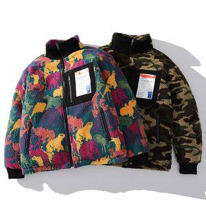 Hip Hop reversível Jacket Parka Pintura colorida animal Brasão Camouflage Streetwear Homens Harajuku Windbreaker Zip velo Inverno