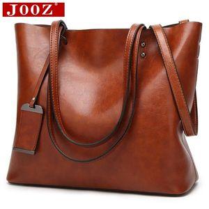 JOOZ Waxing Leder Eimer Taschen Einfache Doppel Gurt weibliche Umhängetaschen für Frauen Messenger Bags Lady Allzweck-Shopping Tote Y190619