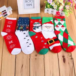Carino Calze di Natale del fiocco di neve di lana calda inverno Womens regalo di Natale dei cervi belli peluche Socks
