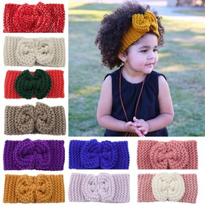 Europe Fashion Child Baby Knitted Headbands Girls Hair Bands Children Bowknot Hair Accessories Lovely Kids Headwraps 40 Colors 15083
